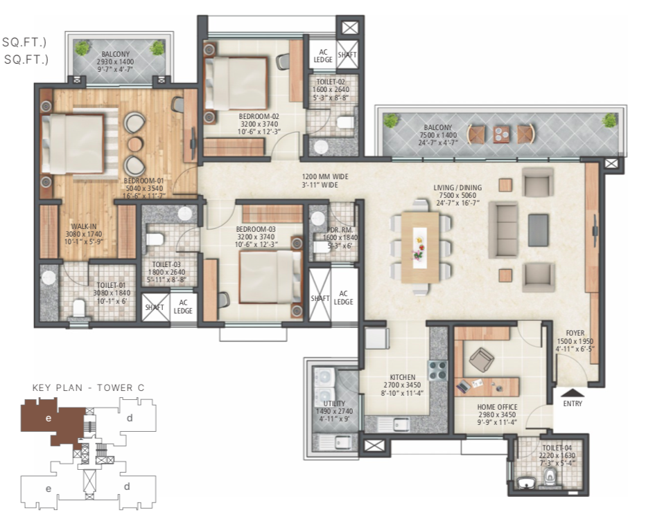 3 BHK+Home Office